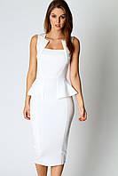 Платье белого цвета с воланом на талии L6150-1