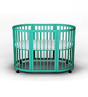 Овальная кроватка-трансформер IngVart Smart Bed Round 9-В-1, Цвет тифани