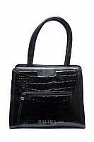 Женская сумка-саквояж со вставкой под кожу рептилии