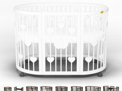 Овальная кроватка-трансформер IngVart Smart Bed Round 9-В-1 с сердечками