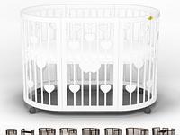 Овальная кроватка-трансформер IngVart Smart Bed Round 9-В-1 с сердечками, фото 1