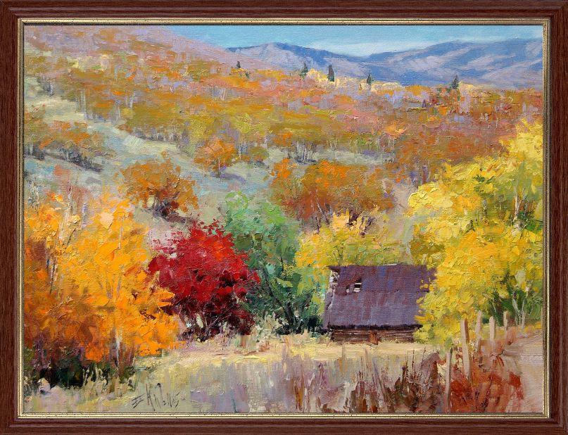 """Репродукция  современной картины """"Осень в горах"""" 30 х 40 см"""