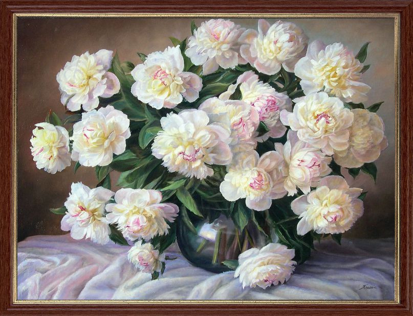 """Репродукція сучасної картини """"Натюрморт з білими півоніями"""" 30 х 40 см"""