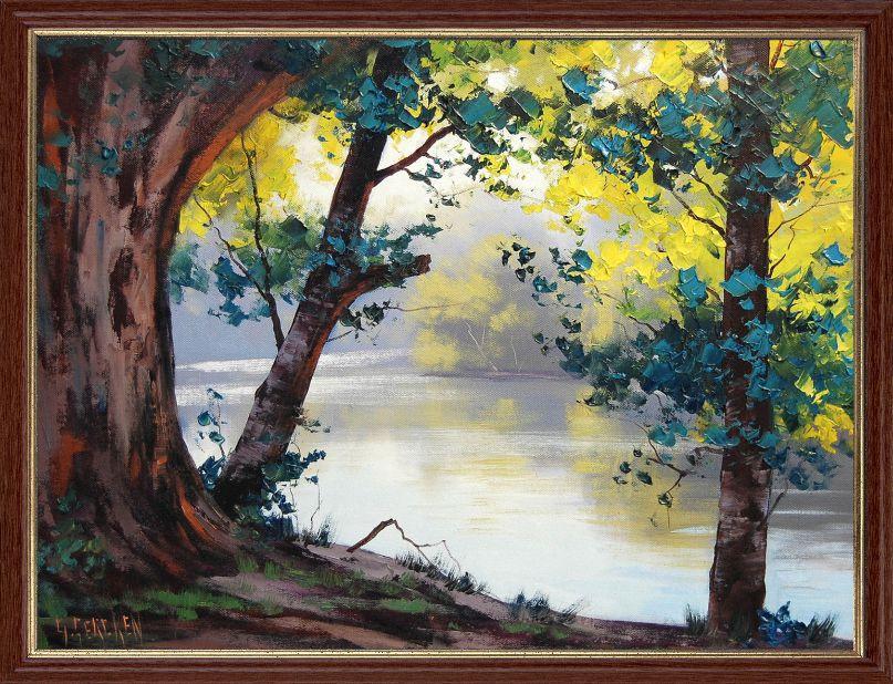 """Репродукция  современной картины """"Осень на реке II"""" 30 х 40 см"""
