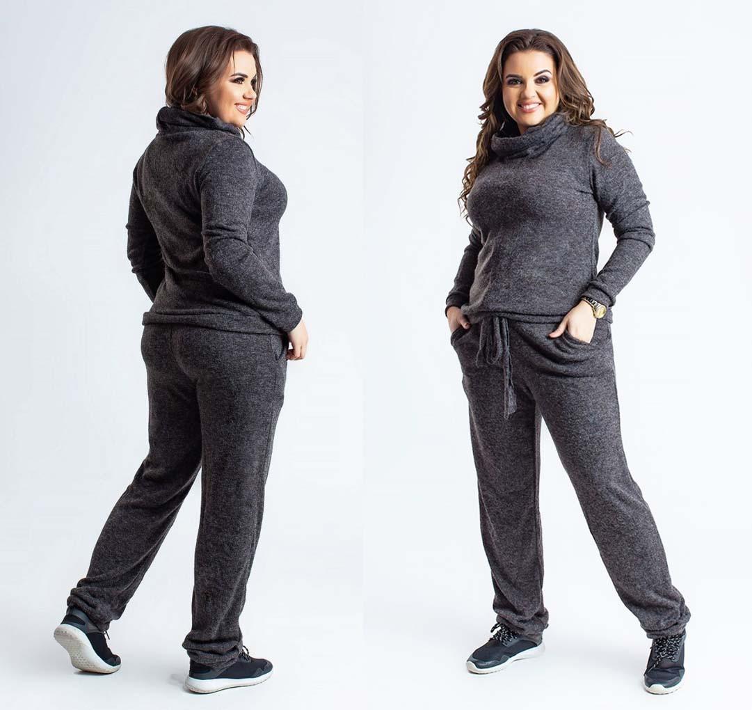 31c16e8f6a0 Новый Ряд Стильный женский тёплый брючный костюм в больших размерах 026-1