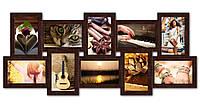 Рамка на стену  на 10 фотографий, коричневая.