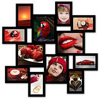 Рамка для фото из дерева на 12 фотографий, черная.