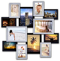 Фоторамка из дерева на 12 фотографий, черно - белая.