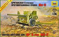 1:35 Сборная модель 6-фунтовой ПТ пушки Mk-II, Звезда 3518