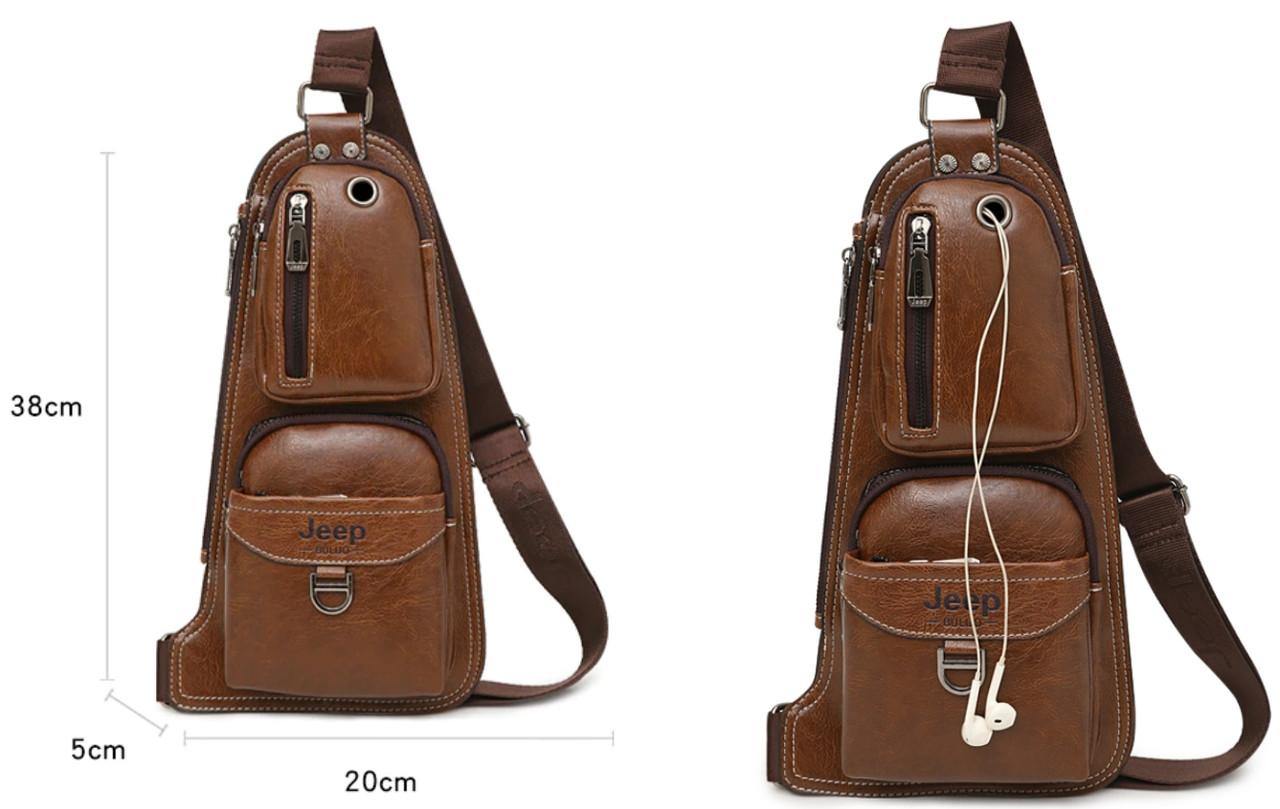 4f427ffe0909 Мужская спортивная кожаная сумка слинг рюкзак бананка кобура Jeep NEW, ...