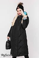 Стильное зимнее двухстороннее пальто для беременных TOKYO черное с аквамарином