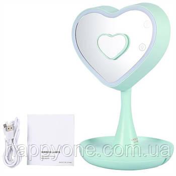 """Зеркало для макияжа с подсветкой и тайником """"Сердце"""" (зеленое)"""