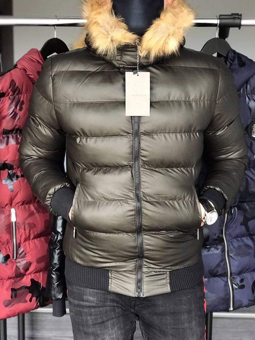 Куртка зимняя мужская с трикотажными манжетами бронза
