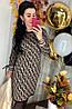 Трикотажное платье с модным принтом. Размера: 42-44 .Цвет: бежевый с черным. (0226), фото 3
