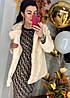 Трикотажное платье с модным принтом. Размера: 42-44 .Цвет: бежевый с черным. (0226), фото 6