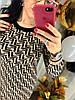Трикотажное платье с модным принтом. Размера: 42-44 .Цвет: бежевый с черным. (0226), фото 7