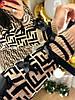 Трикотажное платье с модным принтом. Размера: 42-44 .Цвет: бежевый с черным. (0226), фото 8