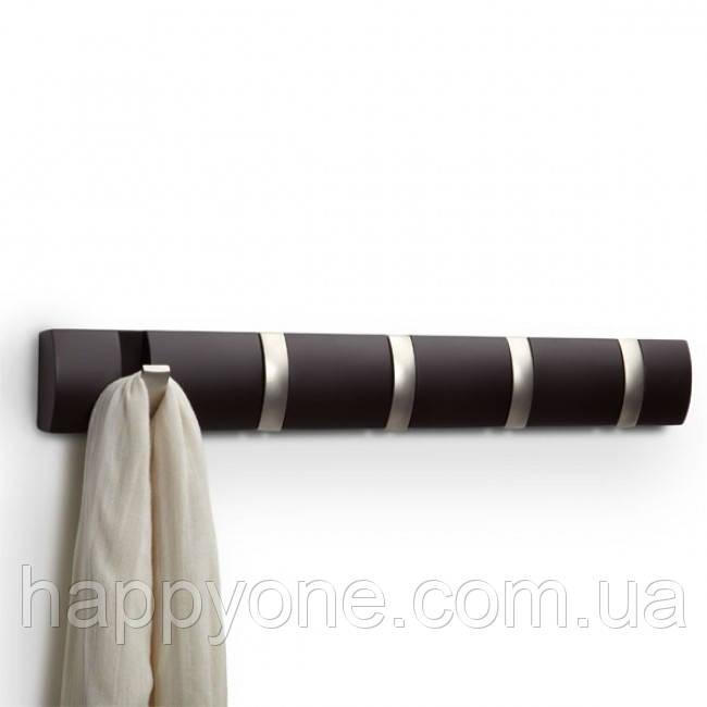 Настенная вешалка для одежды Umbra 5 Flip (эспрессо)