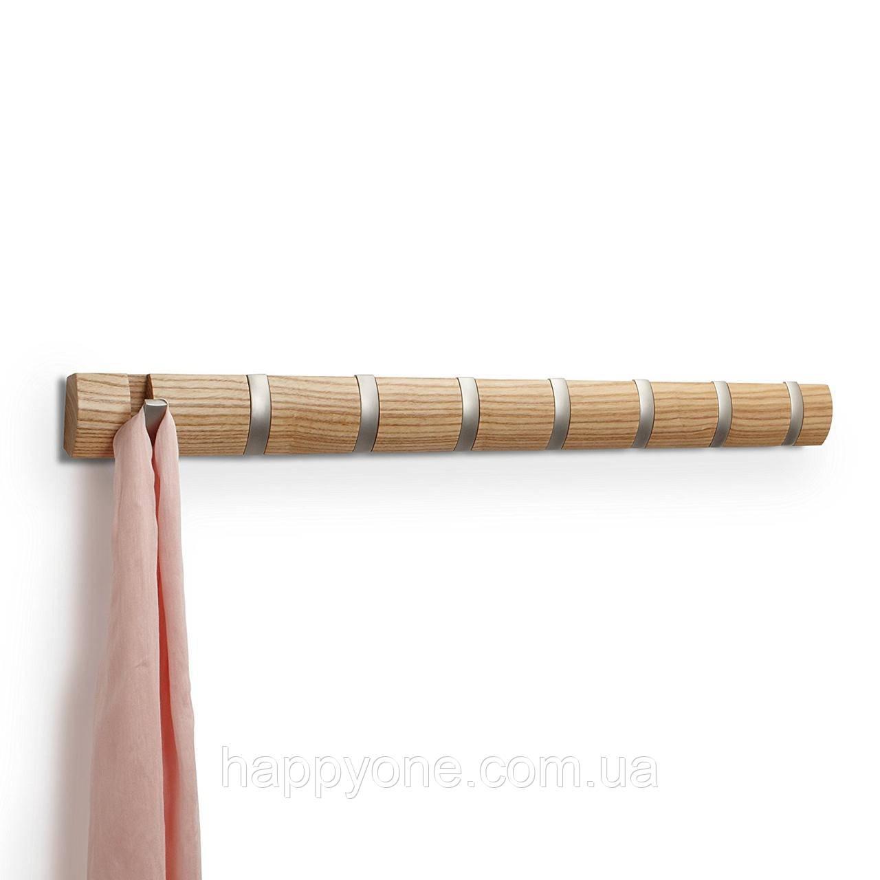 Настенная вешалка для одежды Umbra 8 Flip (светлое дерево)