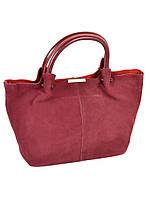 Красивая женская сумка кожаная + замш классическая. Натуральная кожа + замшевый фасад 36*23*15см. Красный