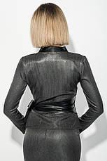 Пиджак женский c поясом из экокожи, на запах 68PD502-2 (Черно-серый), фото 3