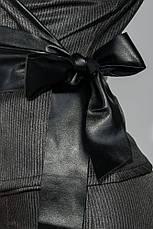 Пиджак женский c поясом из экокожи, на запах 68PD502-2 (Черно-серый), фото 2