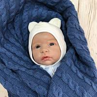 Шапочка для новорожденных Mini бежевая