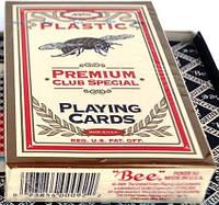 Карты Bee 100% пластик USA для покера красный