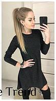 Ангоровое черное платье-трапеция