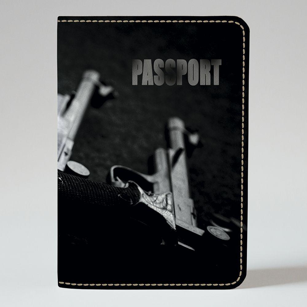 Обложка на паспорт v.1.0. Fisher Gifts 694 Пистолеты в ЧБ (эко-кожа)