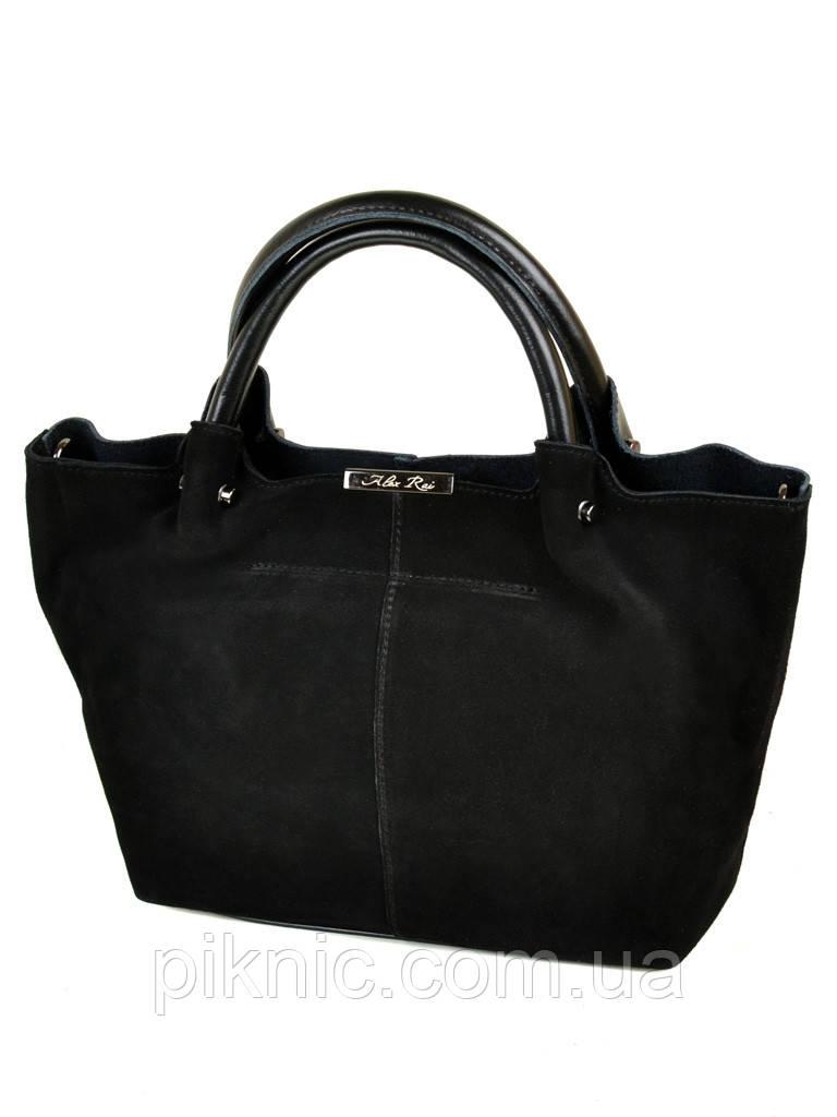 Красивая женская сумка кожаная + замш классическая. Натуральная кожа + замшевый фасад 36*23*15см. Черный