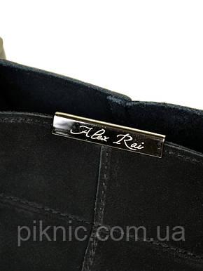 Красивая женская сумка кожаная + замш классическая. Натуральная кожа + замшевый фасад 36*23*15см. Черный, фото 2