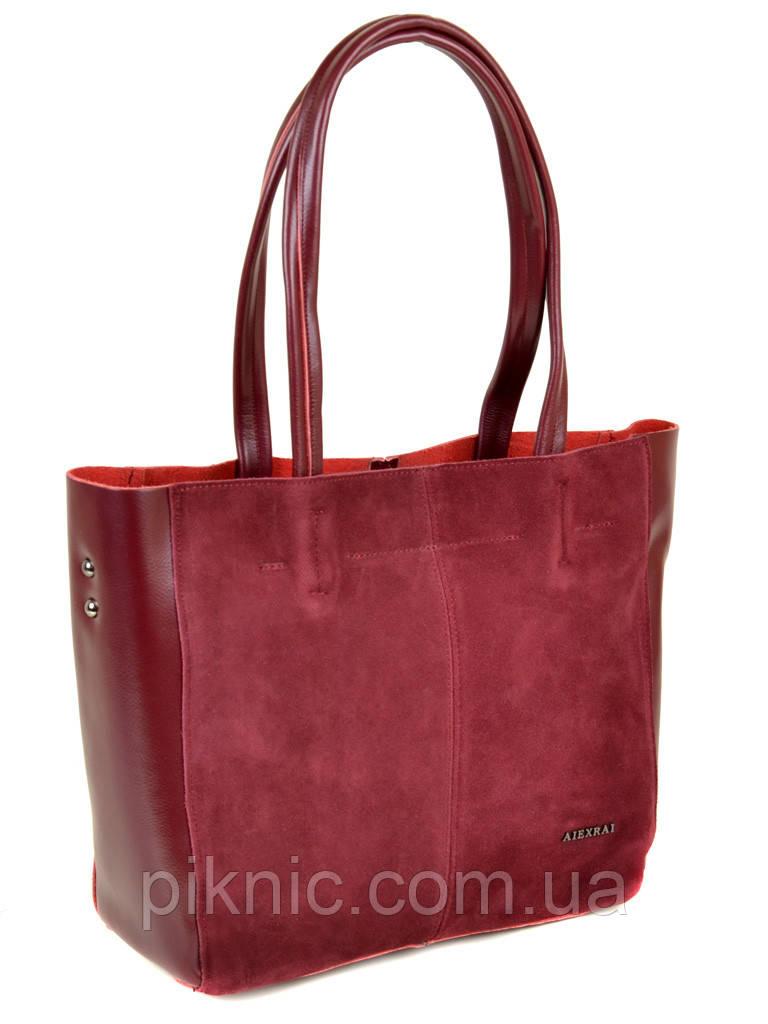 85146fe70e73 Большая женская сумка кожаная + замш классическая. Натуральная кожа +  замшевый фасад 40*29*14см. Красный