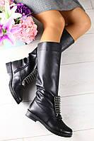 Сапоги женские кожаные еврозима высокие стильные (черные), ТОП-реплика