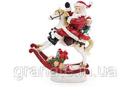 Декоративная статуэтка Санта на лошади с LED-подсветкой 34 см