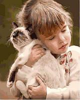 Раскраски по номерам 40×50 см. Девочка с кошкой