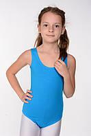 Детский купальник без рукавов для танцев (хлопок) Голубой