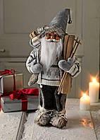 Новогодняя игрушка Санта Клаус белый 41см с лыжами