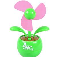 🔝 Портативный вентилятор на батарейках, переносной вентилятор «Цветок», цвет - зелёный | 🎁%🚚