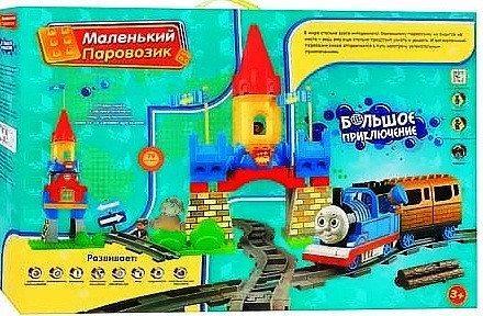 Железная дорога конструктор музыкальный Паровозик Томас М 0443/8288C 79 деталей