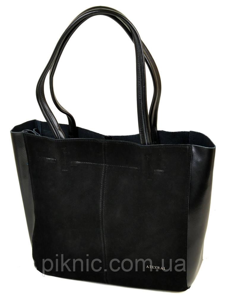 9b4f65a645ed Большая женская сумка кожаная + замш классическая. Натуральная кожа +  замшевый фасад 40*29