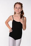 Детский черный купальник на бретелях для танцев и гимнастики
