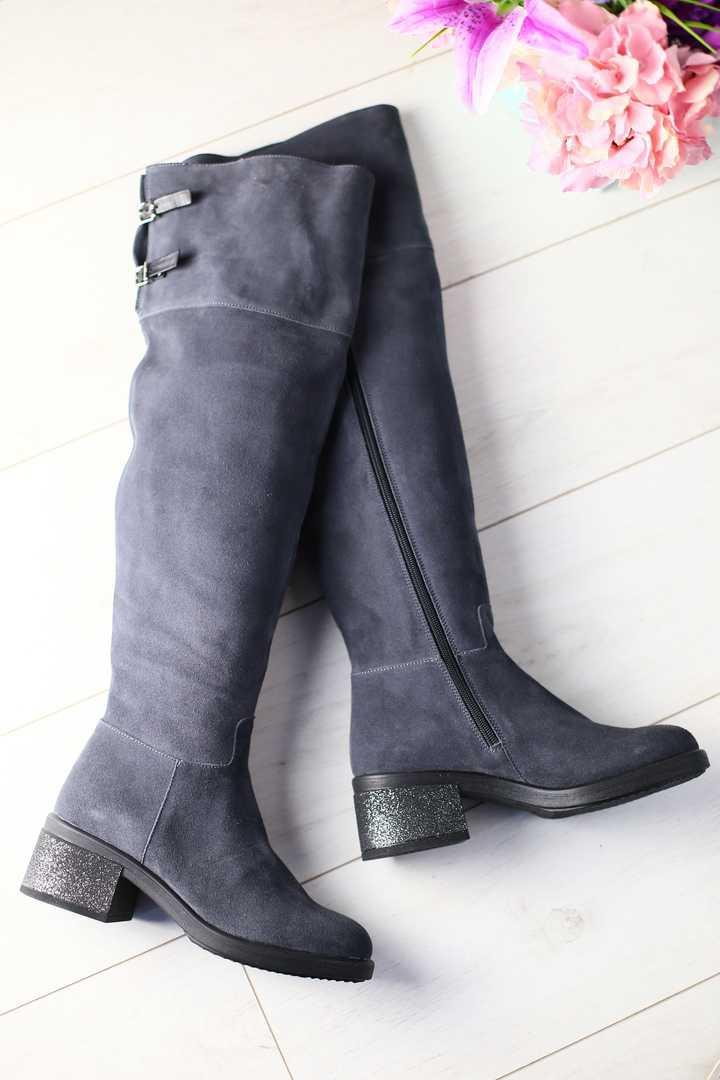 Женские зимние ботфорты  высокие на меху замшевые классные (серые)