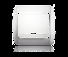 Выключатель одноклавишный с подсветкой белый ERSTE