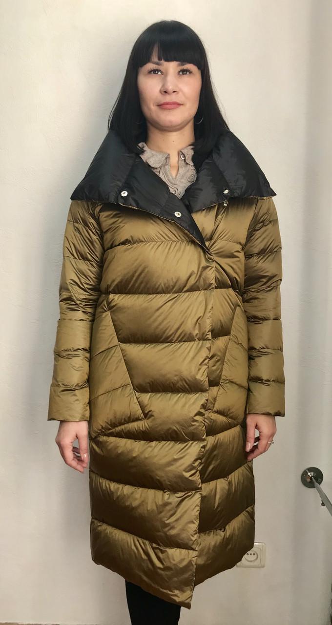 Пуховик пальто женский двухсторонний стеганый тонкий черный золотой стильный
