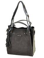 Стильная женская сумка кожаная + замш классическая. Натуральная кожа + замшевый фасад 28*28*13см. Серый