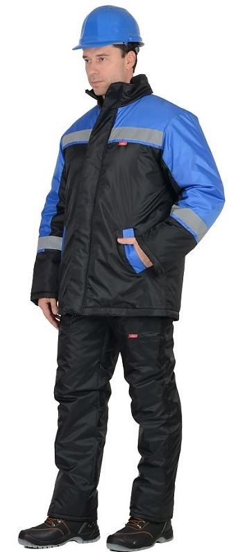 Костюм мужской Спецмонтаж зимний: куртка, брюки черный с васильковым