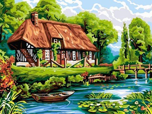 Картины раскраски по номерам 30×40 см. Нормандский соломенный коттедж