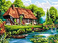 Картины раскраски по номерам 30×40 см. Нормандский соломенный коттедж, фото 1