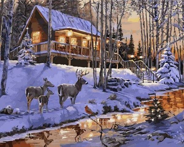 Картины раскраски по номерам 40×50 см. Домик в зимнем лесу Художник Ричард Макнейл
